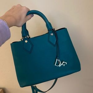 DVF small voyage on the go tote in green